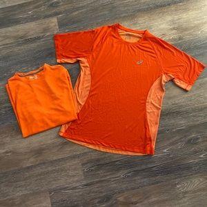 ASICS MENS LG Orange work out shirt + FREE XL shir